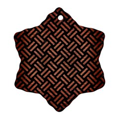 Woven2 Black Marble & Copper Brushed Metal Ornament (snowflake)