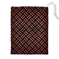 Woven2 Black Marble & Copper Brushed Metal Drawstring Pouch (xxl)