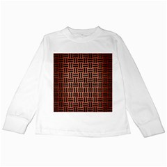 Woven1 Black Marble & Copper Brushed Metal (r) Kids Long Sleeve T Shirt