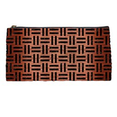 Woven1 Black Marble & Copper Brushed Metal (r) Pencil Case