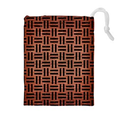 WOV1 BK MARBLE COPPER (R) Drawstring Pouches (Extra Large)