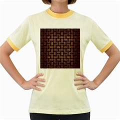 Woven1 Black Marble & Copper Brushed Metal Women s Fitted Ringer T Shirt
