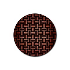 Woven1 Black Marble & Copper Brushed Metal Rubber Coaster (round)