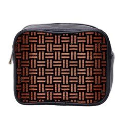 Woven1 Black Marble & Copper Brushed Metal Mini Toiletries Bag (two Sides)