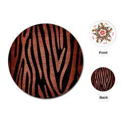 Skin4 Black Marble & Copper Brushed Metal (r) Playing Cards (round)