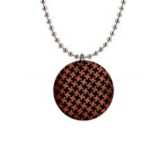 Houndstooth2 Black Marble & Copper Brushed Metal 1  Button Necklace