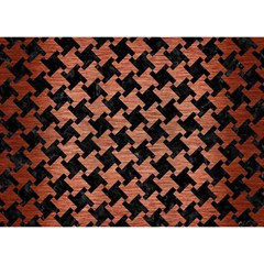 Houndstooth2 Black Marble & Copper Brushed Metal Birthday Cake 3d Greeting Card (7x5)