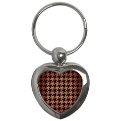 Houndstooth1 Black Marble & Copper Brushed Metal Key Chain (heart)