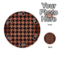 Houndstooth1 Black Marble & Copper Brushed Metal Playing Cards 54 (round)