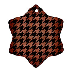 Houndstooth1 Black Marble & Copper Brushed Metal Ornament (snowflake)