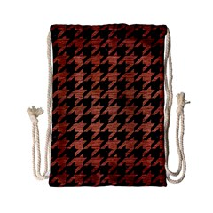 Houndstooth1 Black Marble & Copper Brushed Metal Drawstring Bag (small)