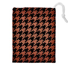 Houndstooth1 Black Marble & Copper Brushed Metal Drawstring Pouch (xxl)