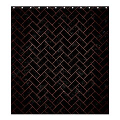 Brick2 Black Marble & Copper Brushed Metal Shower Curtain 66  X 72  (large)