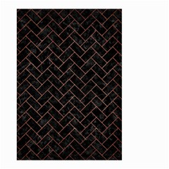Brick2 Black Marble & Copper Brushed Metal Small Garden Flag (two Sides)