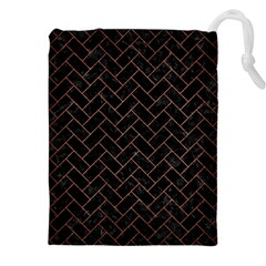 Brick2 Black Marble & Copper Brushed Metal Drawstring Pouch (xxl)
