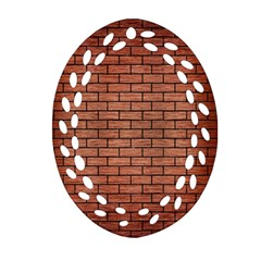 Brick1 Black Marble & Copper Brushed Metal (r) Oval Filigree Ornament (two Sides)