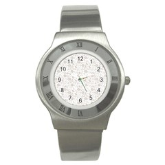 Elegant seamless Floral Ornaments Pattern Stainless Steel Watch