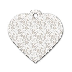 Elegant seamless Floral Ornaments Pattern Dog Tag Heart (Two Sides)