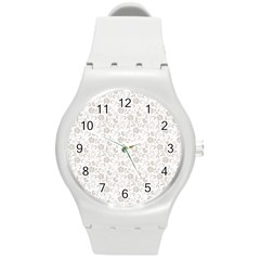 Elegant seamless Floral Ornaments Pattern Round Plastic Sport Watch (M)