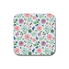 Hand Painted Spring Flourishes Flowers Pattern Rubber Square Coaster (4 pack)