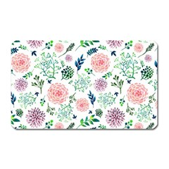 Hand Painted Spring Flourishes Flowers Pattern Magnet (Rectangular)