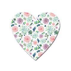 Hand Painted Spring Flourishes Flowers Pattern Heart Magnet