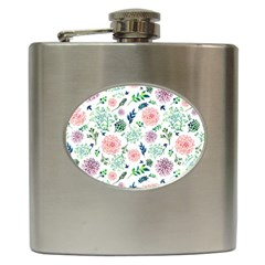 Hand Painted Spring Flourishes Flowers Pattern Hip Flask (6 oz)