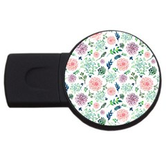 Hand Painted Spring Flourishes Flowers Pattern USB Flash Drive Round (2 GB)