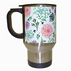 Hand Painted Spring Flourishes Flowers Pattern Travel Mugs (White)