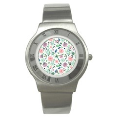 Hand Painted Spring Flourishes Flowers Pattern Stainless Steel Watch