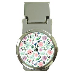 Hand Painted Spring Flourishes Flowers Pattern Money Clip Watches