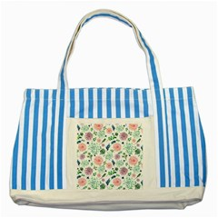 Hand Painted Spring Flourishes Flowers Pattern Striped Blue Tote Bag