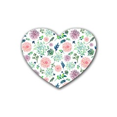 Hand Painted Spring Flourishes Flowers Pattern Heart Coaster (4 pack)