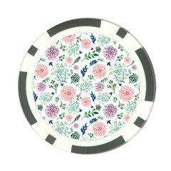 Hand Painted Spring Flourishes Flowers Pattern Poker Chip Card Guards