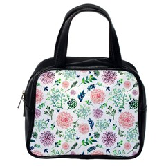 Hand Painted Spring Flourishes Flowers Pattern Classic Handbags (One Side)