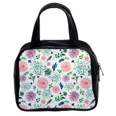 Hand Painted Spring Flourishes Flowers Pattern Classic Handbags (2 Sides)