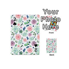 Hand Painted Spring Flourishes Flowers Pattern Playing Cards 54 (Mini)