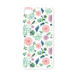 Hand Painted Spring Flourishes Flowers Pattern Apple iPhone 4 Case (White)