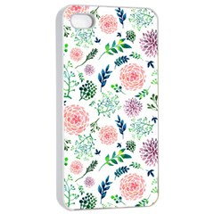 Hand Painted Spring Flourishes Flowers Pattern Apple iPhone 4/4s Seamless Case (White)