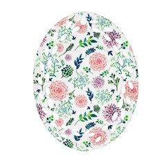 Hand Painted Spring Flourishes Flowers Pattern Oval Filigree Ornament (2-Side)