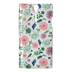 Hand Painted Spring Flourishes Flowers Pattern Sony Xperia S