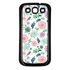 Hand Painted Spring Flourishes Flowers Pattern Samsung Galaxy S3 Back Case (Black)