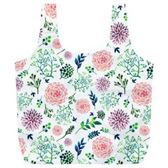 Hand Painted Spring Flourishes Flowers Pattern Full Print Recycle Bags (L)