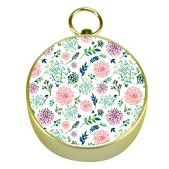 Hand Painted Spring Flourishes Flowers Pattern Gold Compasses