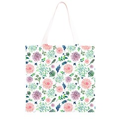 Hand Painted Spring Flourishes Flowers Pattern Grocery Light Tote Bag