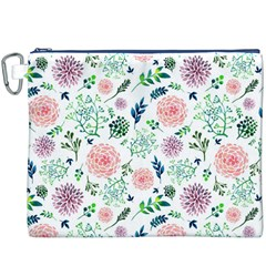 Hand Painted Spring Flourishes Flowers Pattern Canvas Cosmetic Bag (XXXL)