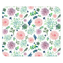 Hand Painted Spring Flourishes Flowers Pattern Double Sided Flano Blanket (small)