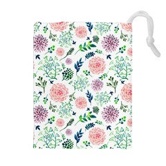 Hand Painted Spring Flourishes Flowers Pattern Drawstring Pouches (extra Large)