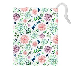Hand Painted Spring Flourishes Flowers Pattern Drawstring Pouches (xxl)