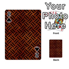 Woven2 Black Marble & Brown Burl Wood (r) Playing Cards 54 Designs